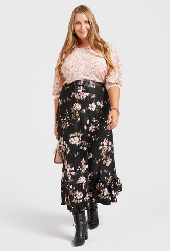 All-Over Print Midi Tiered Skirt with Elasticised Waistband