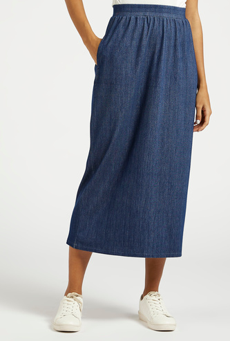 Textured A-line Midi Skirt with Pocket and Elasticated Waistband