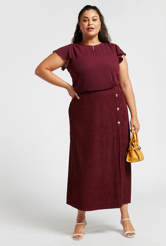 Textured Midi A-line Skirt with Button Detail and Elasticised Waist