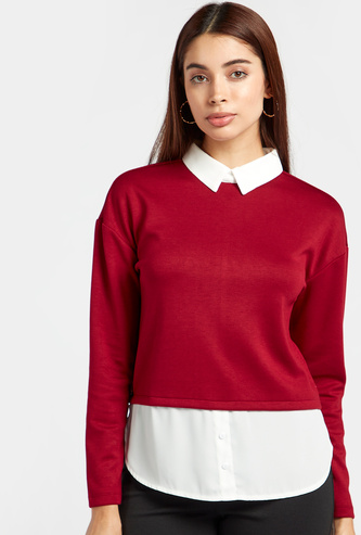 Collared Two-in-One Top with Long Sleeves