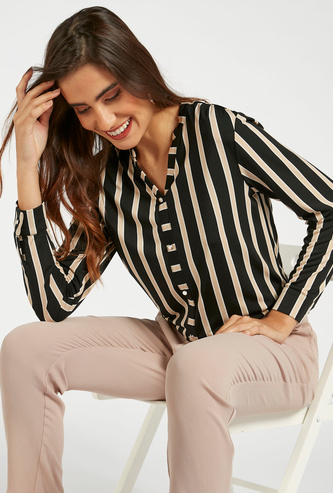 Striped Shirt with V-neck and Long Sleeves