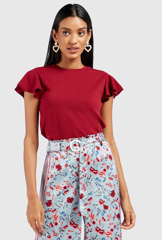 Solid Top with Cap Sleeves and Ruffle Detail