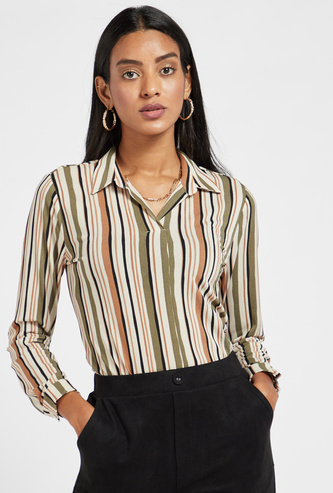 Striped Top with Spread Collar and Long Sleeves