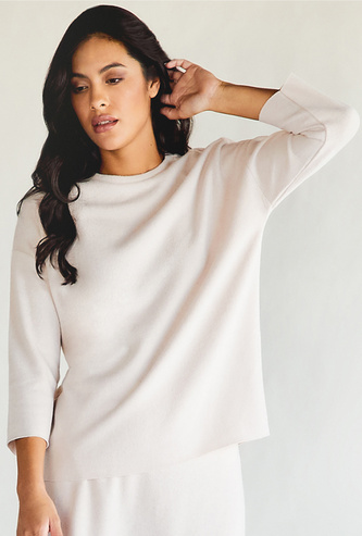 Solid Top with High Neck and 3/4 Sleeves