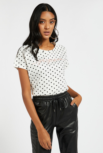 All-Over Print T-shirt with Short Sleeves and Embroidered Detail