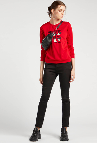 Mickey Mouse Graphic Print Sweatshirt with Crew Neck and Long Sleeves