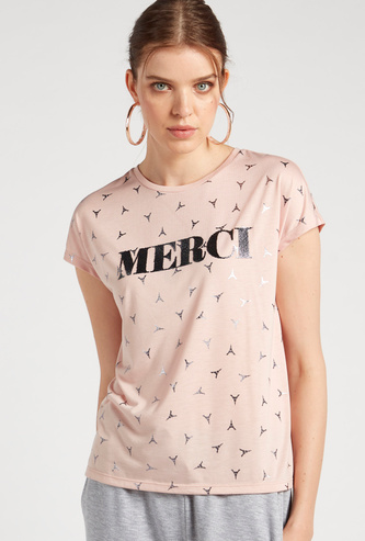 All-Over Foil Print T-shirt with Round Neck and Short Sleeves