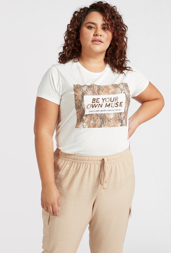 Printed and Embellished Round Neck T-shirt with Short Sleeves