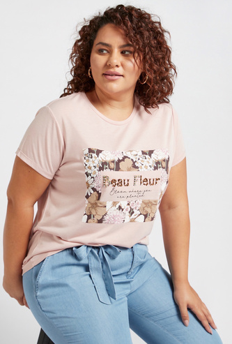 Embellished T-shirt with Floral Print and Short Sleeves