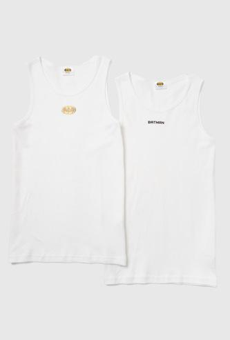 Set of 2 - Batman Print Sleeveless Vest with Scoop Neck