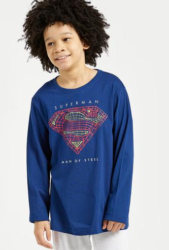 Super-Man Print Long Sleeves T-shirt and Pyjama Set