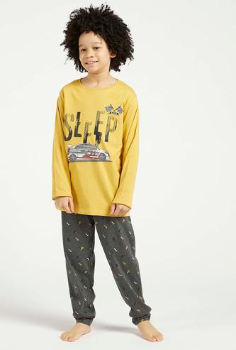 Printed T-shirt with Long Sleeves and Jog Pants Set