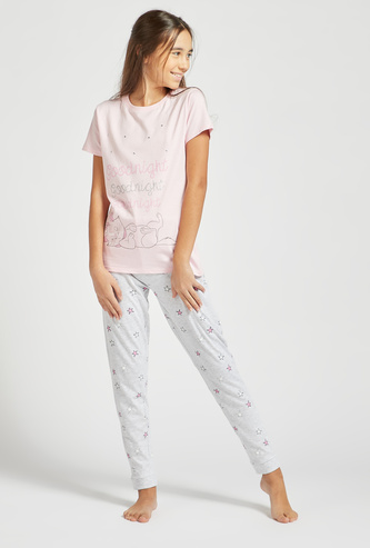 Marie Graphic Print Short Sleeves T-shirt and Pyjama Set