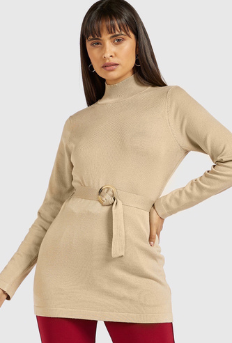 Textured Tunic Sweater with High Neck and Long Sleeves