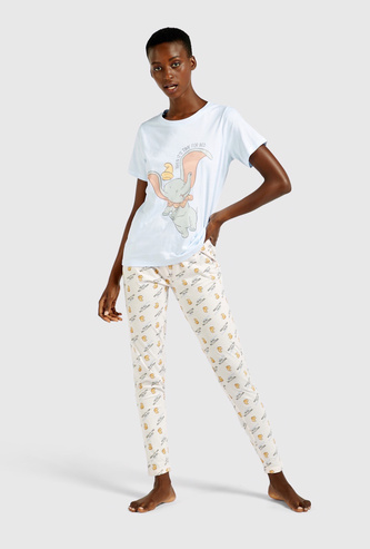 Printed Short Sleeves T-shirt and Full Length Pyjama Set
