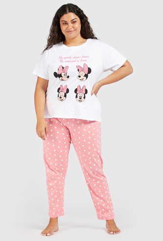 Minnie Mouse Graphic Print T-shirt and Pyjama Set