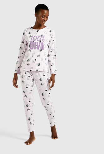 All-Over Print Long Sleeves T-shirt and Pyjama Set