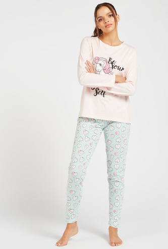 Printed Long Sleeves T-shirt and Full-Length Pyjama Set