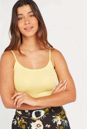 Plain Camisole with Scoop Neck and Spaghetti Straps