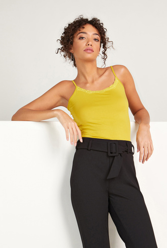 Solid Camisole with Scoop Neck and Lace Detail