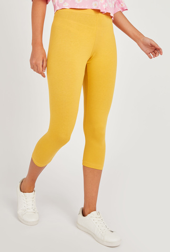 Solid Anti-Pilling Cropped Leggings with Elasticised Waistband