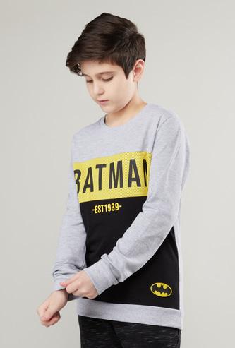 Batman Printed Round Neck Sweatshirt with Long Sleeves