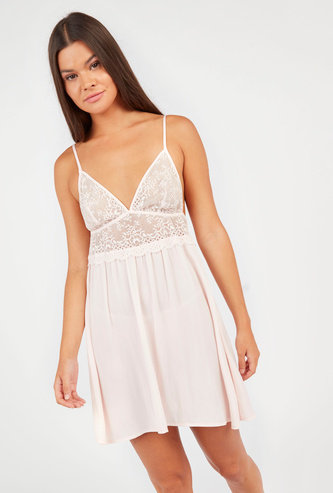 Lace Detail Baby Doll Dress with V-neck