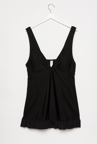 Solid Sleeveless Swimsuit with V-neck