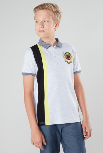 Vertical Striped Cut and Sew Polo T-shirt with Short Sleeves