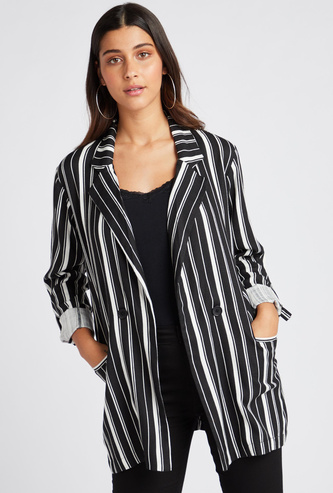 Striped Blazer with Long Sleeves and Pocket Detail