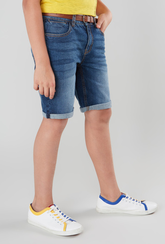 Textured Denim Shorts with Folded Hem and Button Closure