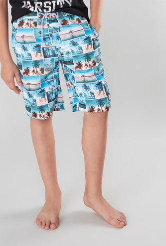 Printed Swim Shorts with Pocket Detail and Elasticised Waistband