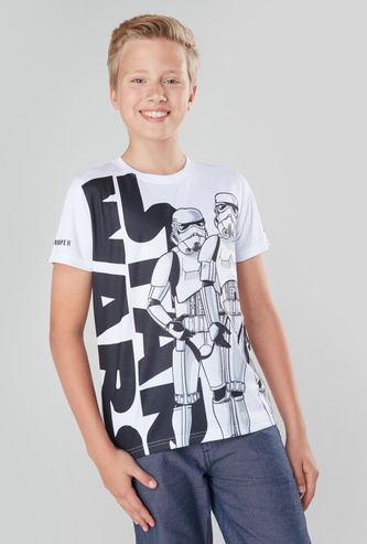Star Wars Printed T-shirt with Round Neck and Short Sleeves