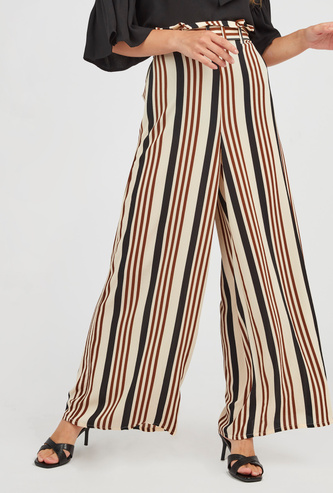 Striped Mid-Rise Palazzo Pants with Belt