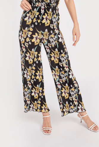 Printed Mid-Rise Palazzo Pants with Elasticised Waistband