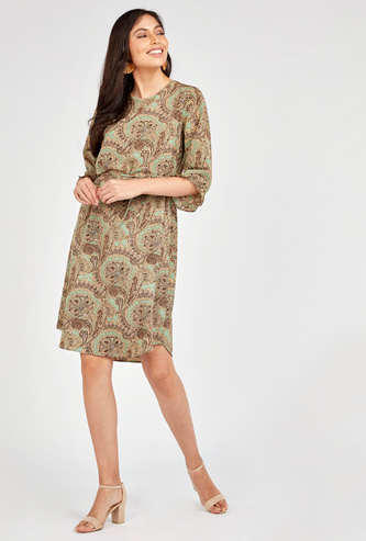 Printed Mini A-line Dress with Round Neck and 3/4 Sleeves