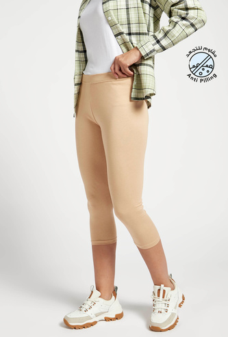 Solid 3/4 Mid-Rise Leggings with Elasticated Waistband