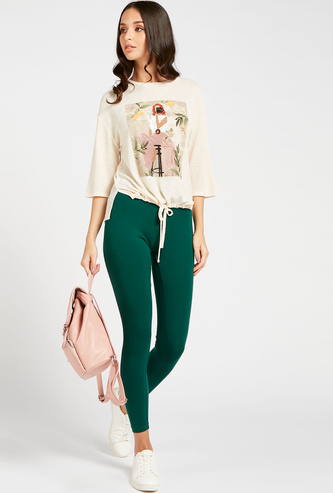 Full Length Solid Mid-Rise Leggings with Elasticised Waistband