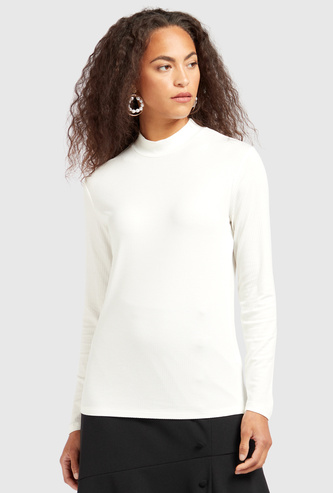 Ribbed T-shirt with High Neck and Long Sleeves