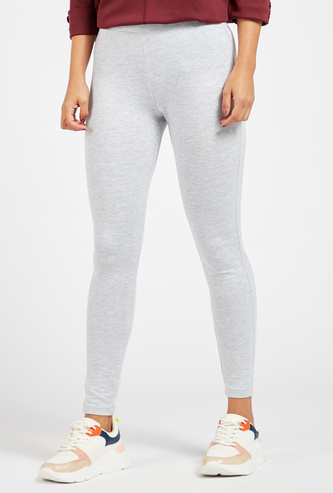 Skinny Fit Solid Ankle-Length Leggings with Elasticised Waistband