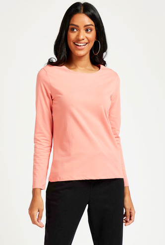 Solid T-shirt with Round Neck and Long Sleeves