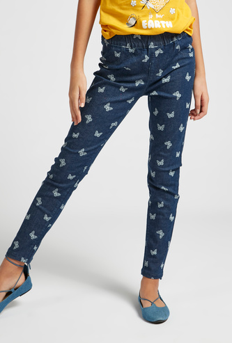 Full Length All-Over Print Jeggings with Elasticised Waistband