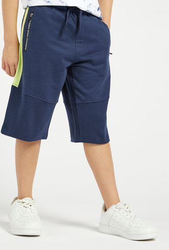 Solid Shorts with Side Panel and Drawstring Closure