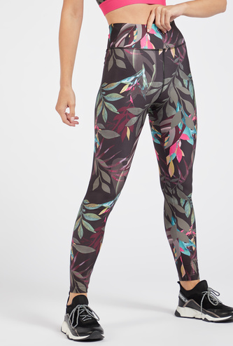Slim Fit All-Over Print High-Rise Leggings with Elasticised Waistband