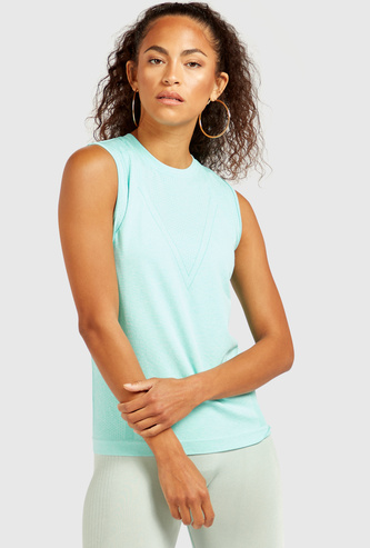 Slim Fit Textured Sleeveless Vest with Round Neck