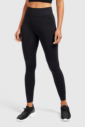 Slim Fit Textured Mid-Rise Leggings with Elasticised Waistband
