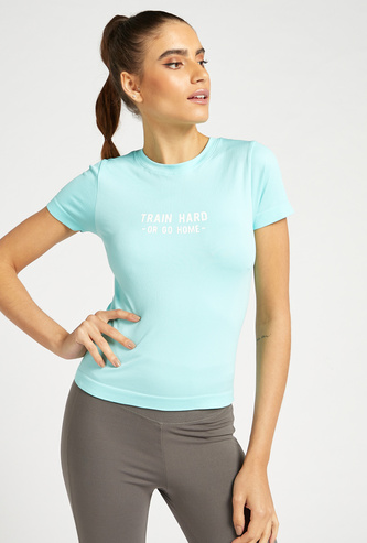 Slim Fit Ribbed Top with Crew Neck and Cap Sleeves