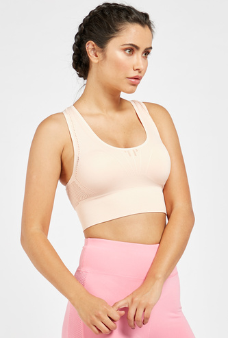 Textured Seamless Sports Bra with Racerback and Elasticised Hem