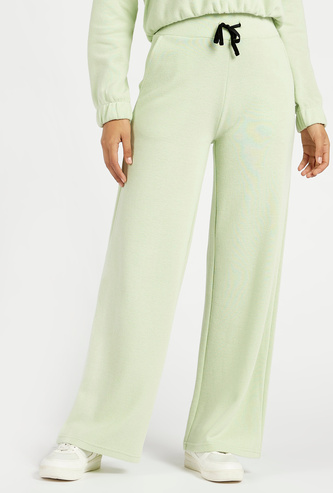 Solid Mid-Rise Track Pants with Pockets and Drawstring Closure
