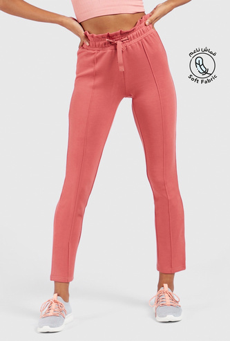 Solid Mid-Rise Pants with Paperbag Waist and Drawstring Closure